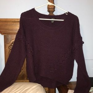 Rue21 Burgundy Sweater with Lace up Front/Sleeves